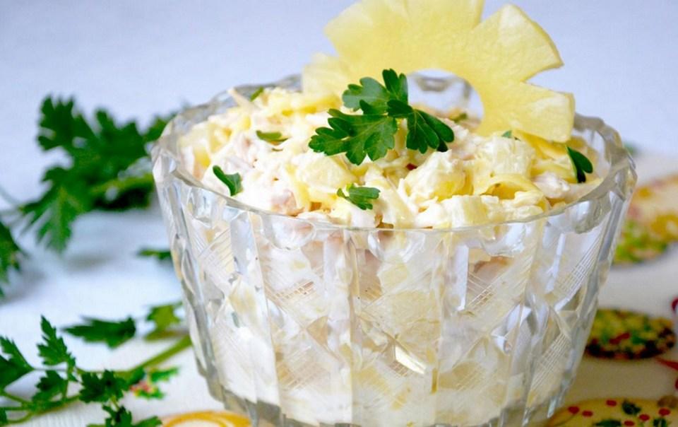 салат кукуруза ананас курица сыр