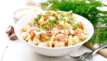 салат с крабовыми палочками помидорами и чесноком